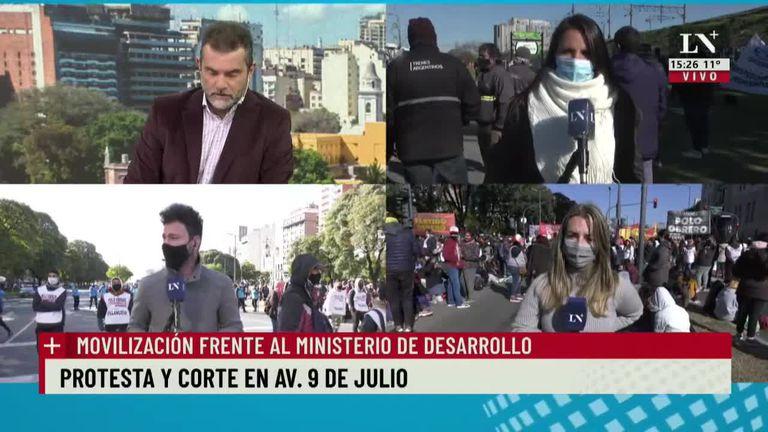 Protesta y corte en Av. 9 de julio: movilización frente al Ministerio de Desarrollo Social