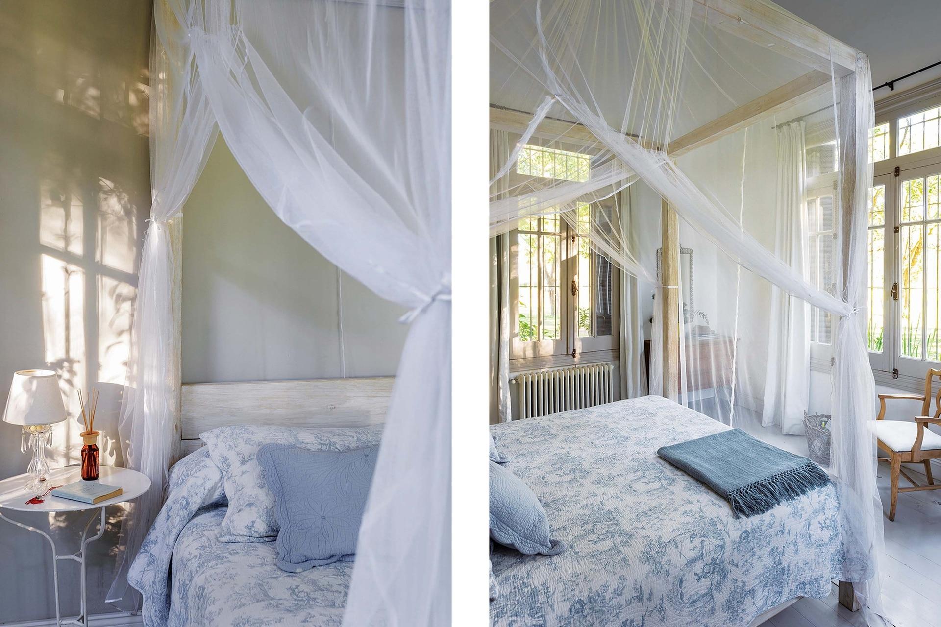 Este cuarto de huéspedes tiene el lujo de dos ventanas en ángulo, una de tres paños.