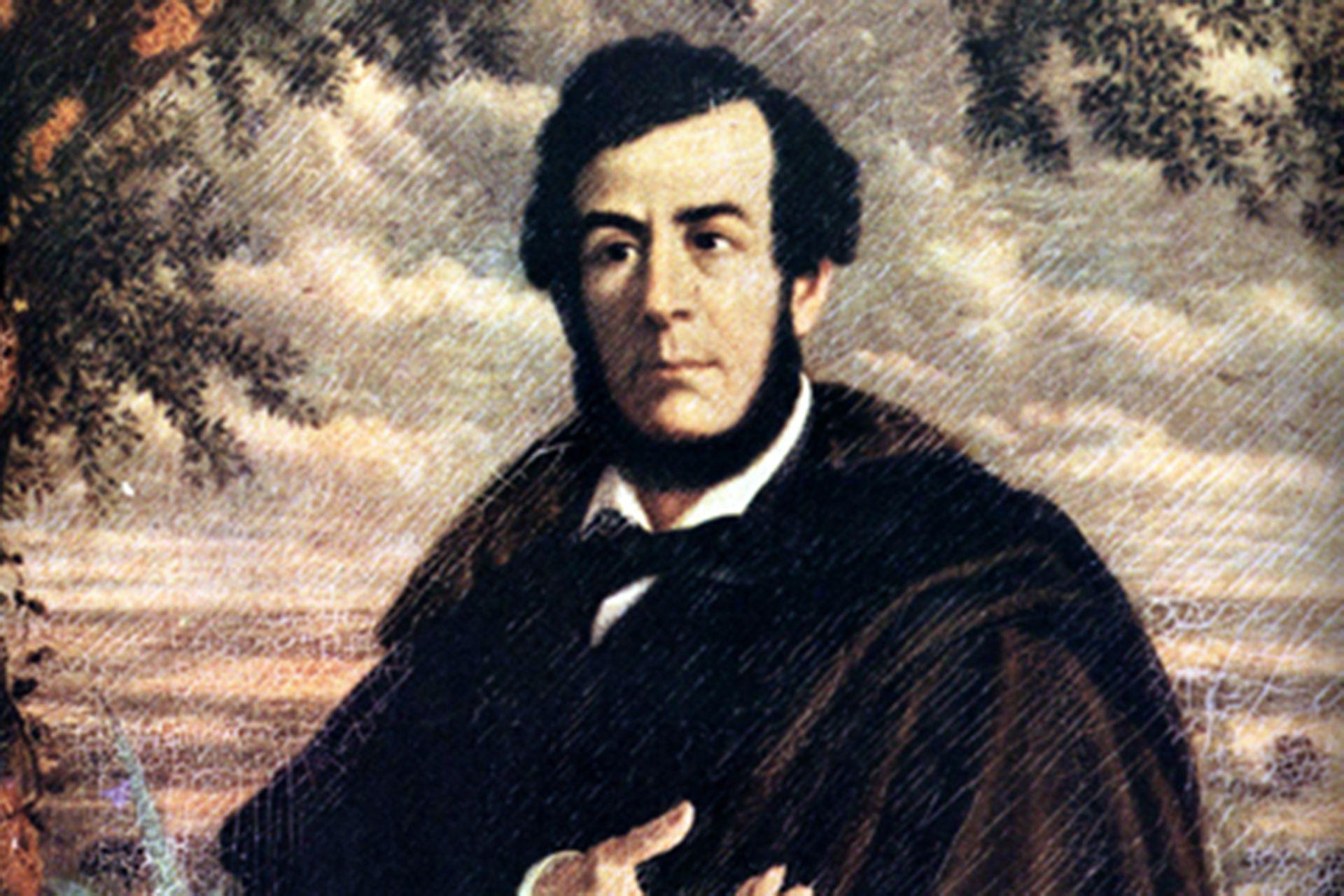 Esteban Echeverría en una pintura de Ernest Charton