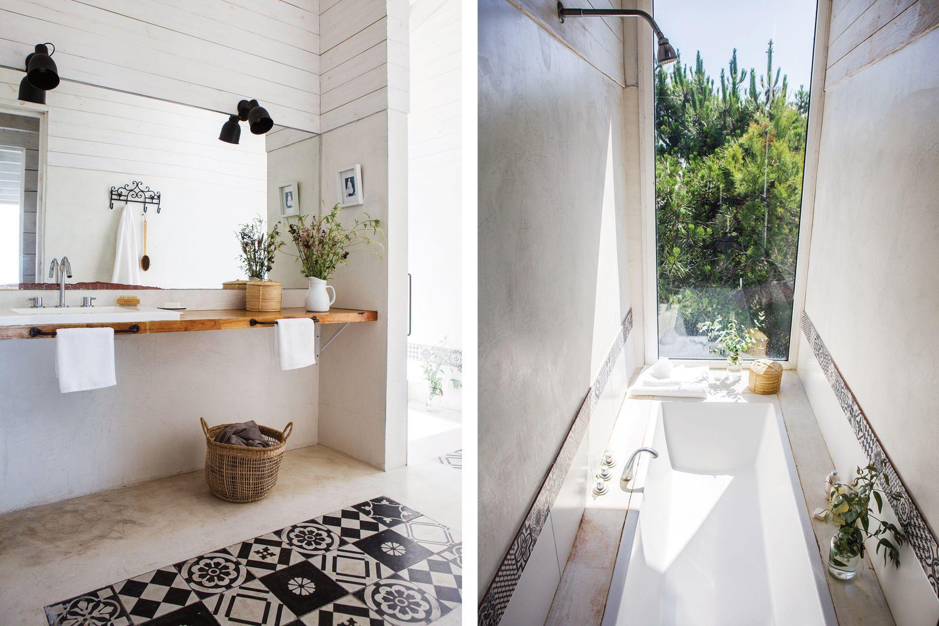 El piso del baño está sectorizado con los mismos calcáreos de la alzada de la cocina. Mesada de madera reconstituida con terminación de hidrolaca.