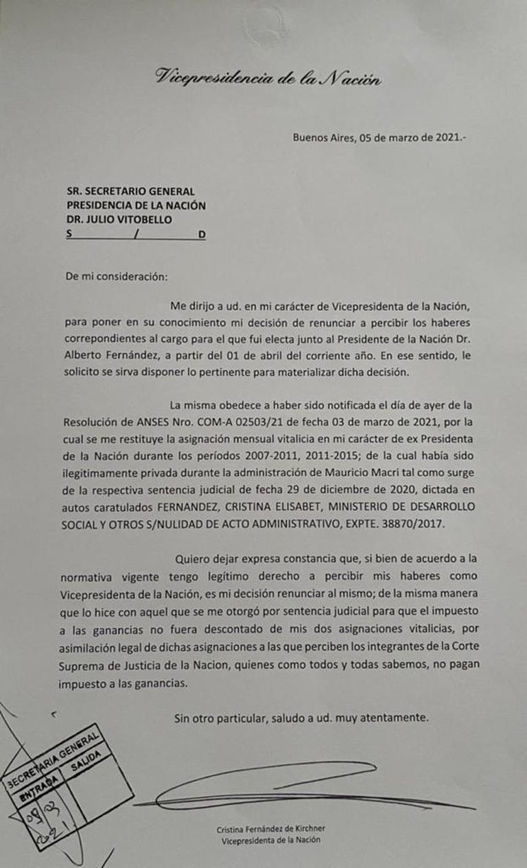 Carta de Cristina Kirchner enviada a Julio Vitobello