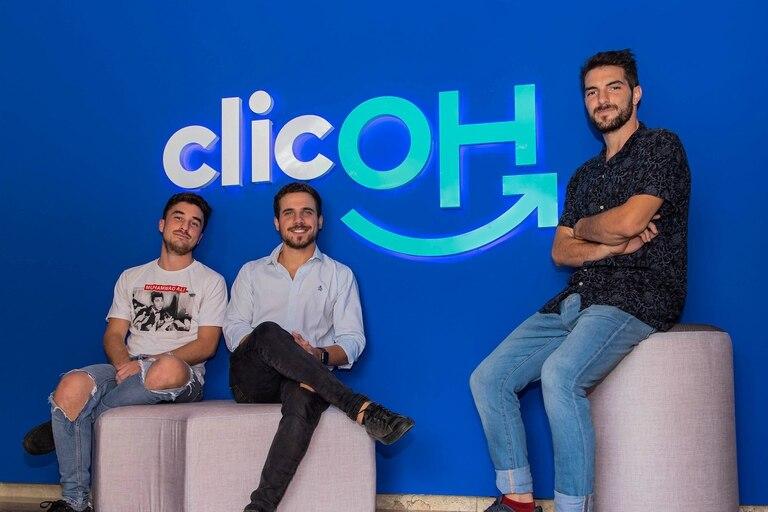 De izquierda a derecha los fundadores de Clicoh: Juan Altamirano (COO) - Agustín Novillo Saravia (CEO) - Emiliano Segura (CTO)