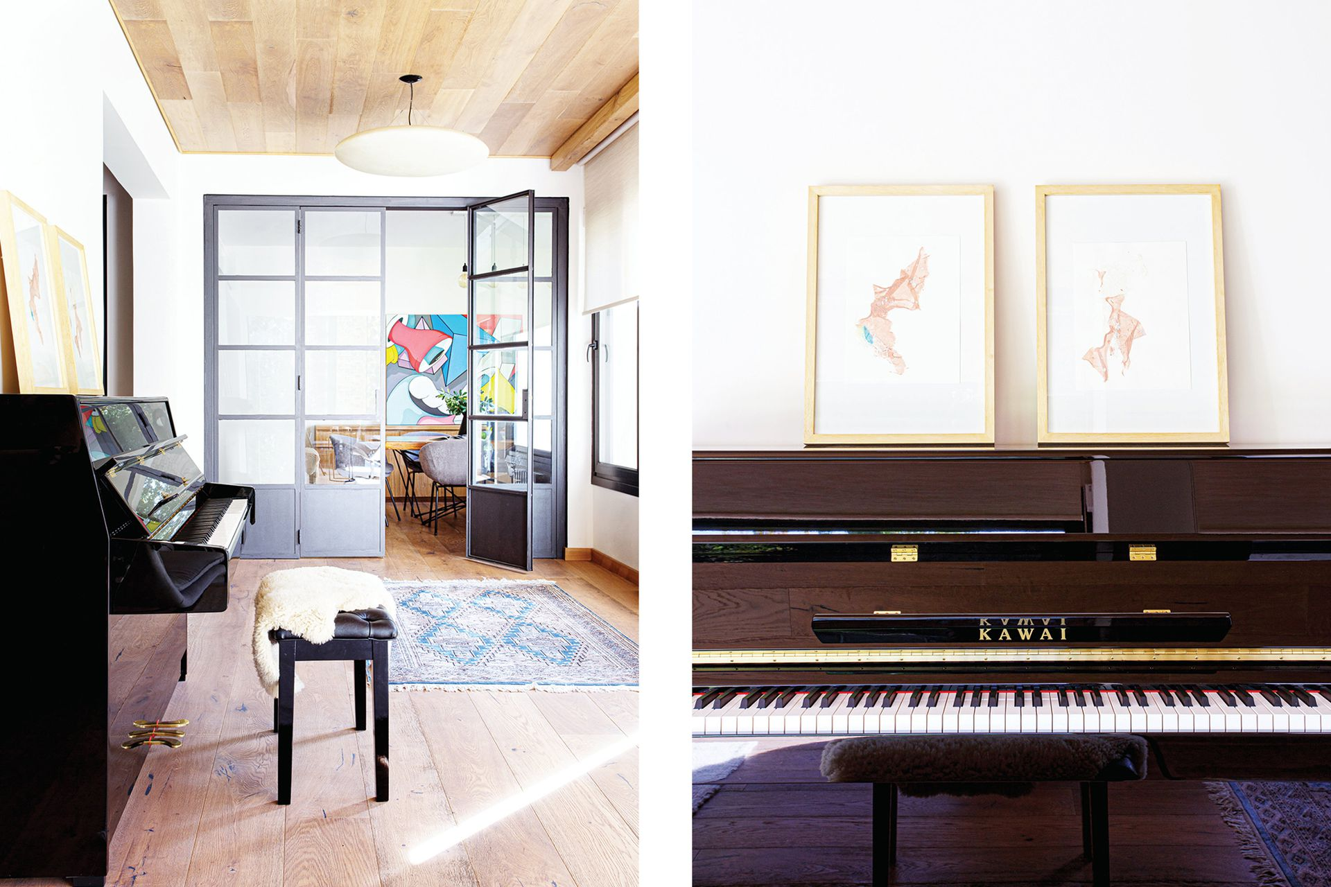 Sobre el piano, obras de la serie 'Suite Miami', de Laura Saint-Agne.