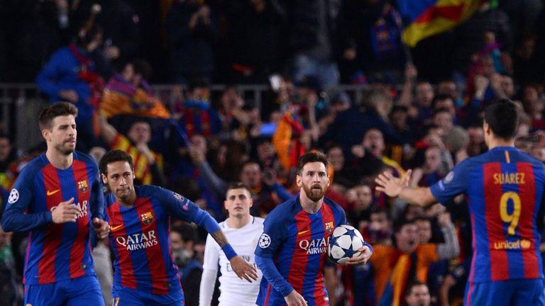 El festejo de Messi después del tercer gol de Barcelona