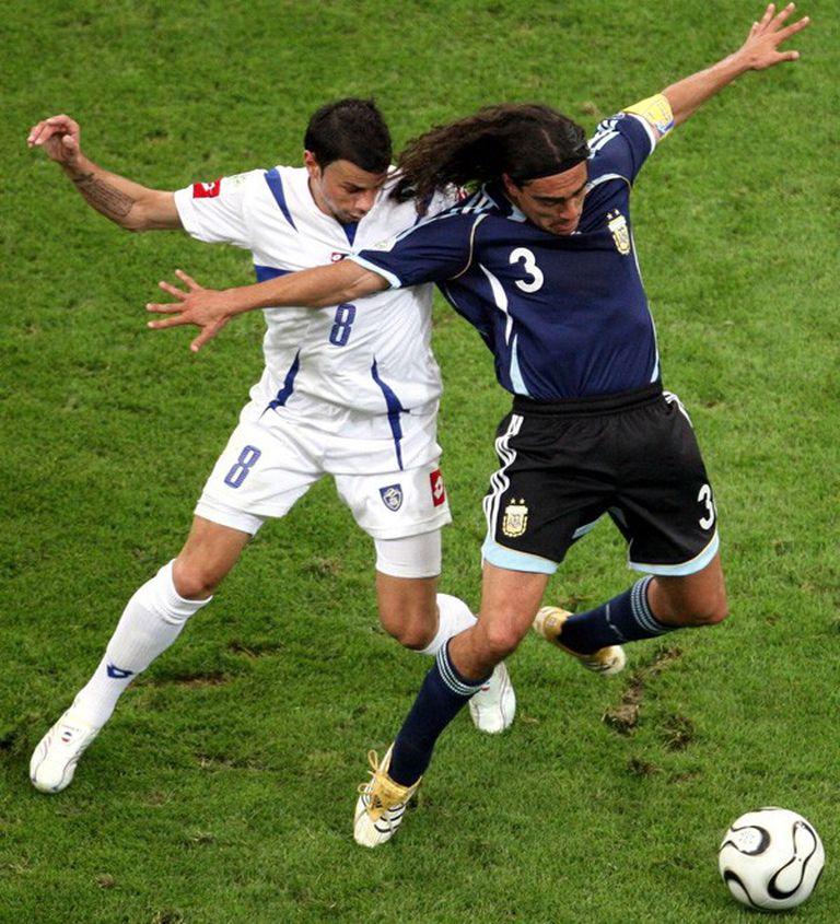 Juan Pablo Sorín, durante el último Mundial de Alemania, en el partido ante Serbia