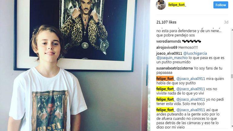 Felipe Fort y su defensa en Instagram