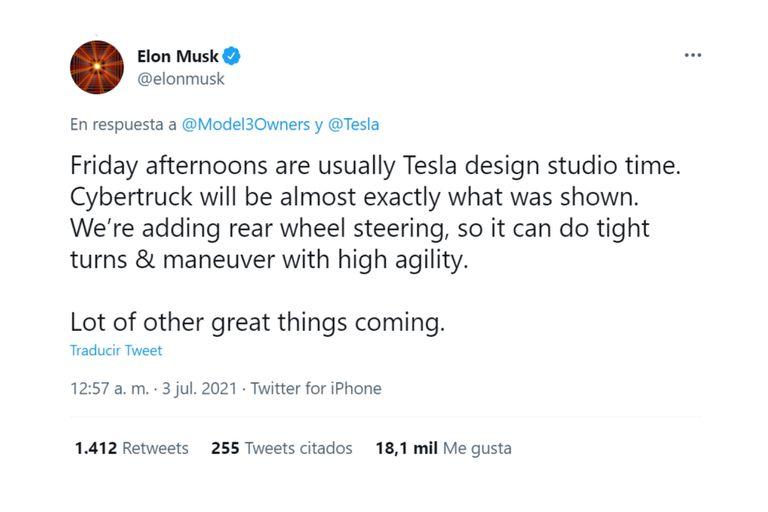 El fundador de Tesla anunció una mejora que ayudará en la conducción de la camioneta Cybertruck