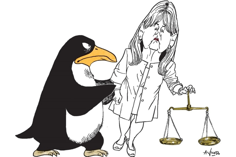 Ilustración de Alfredo Sábat de la ministro Marcela Losardo y un pingüino