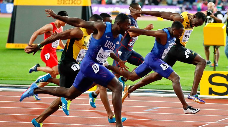 En su última carrera de los 100 metros, Usain Bolt fue tercero y ganó Justin Gatlin