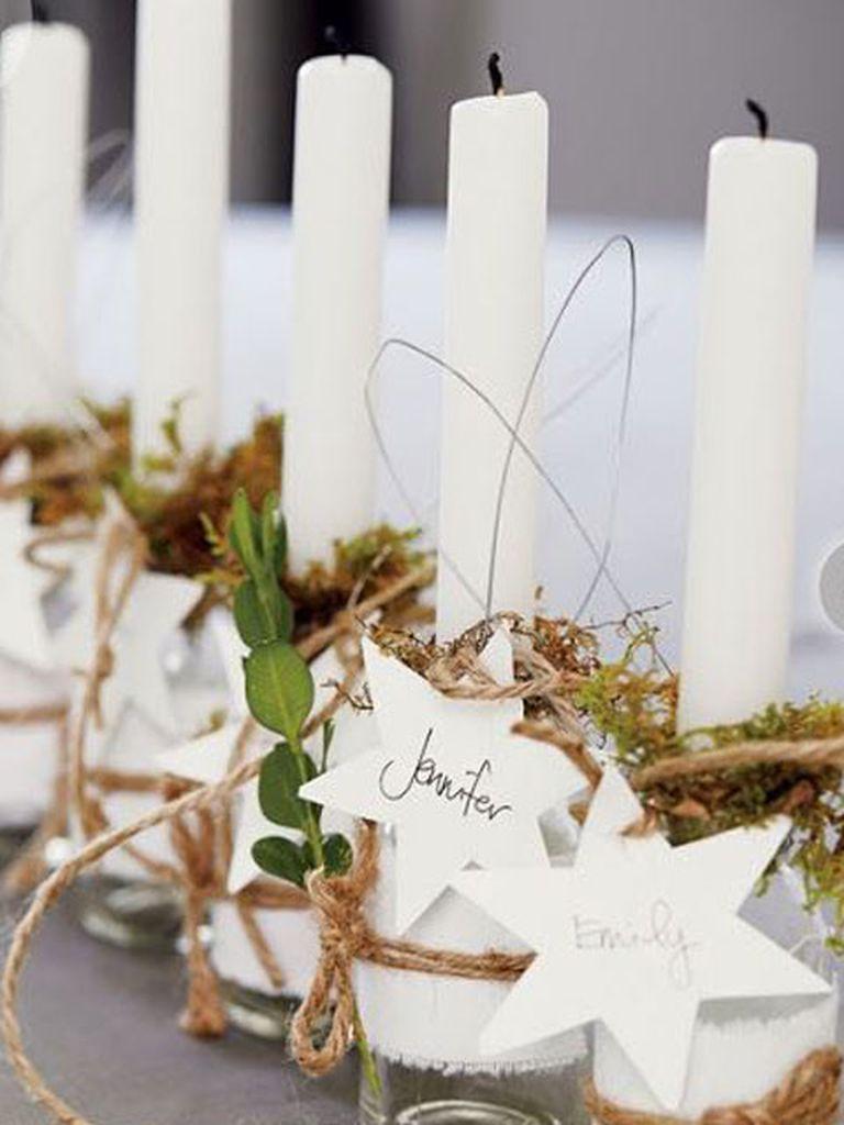 Velas con nombres de los invitados