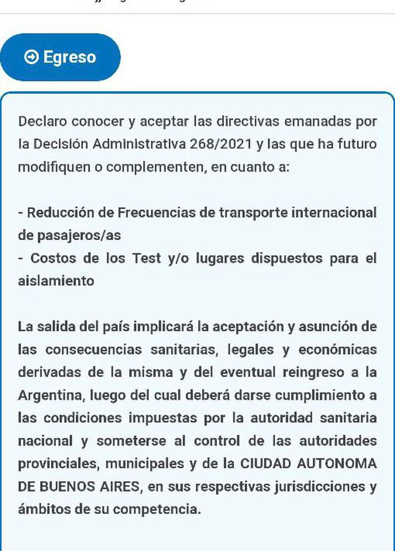 La Declaración Jurada que firmaron los pasajeros antes de salir del país