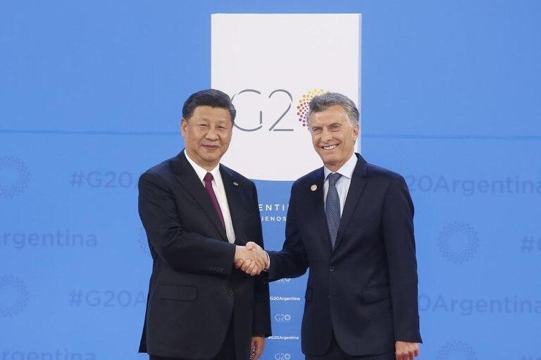Xi Jinping con Mauricio Macri en el inicio de la cumbre de líderes del G20