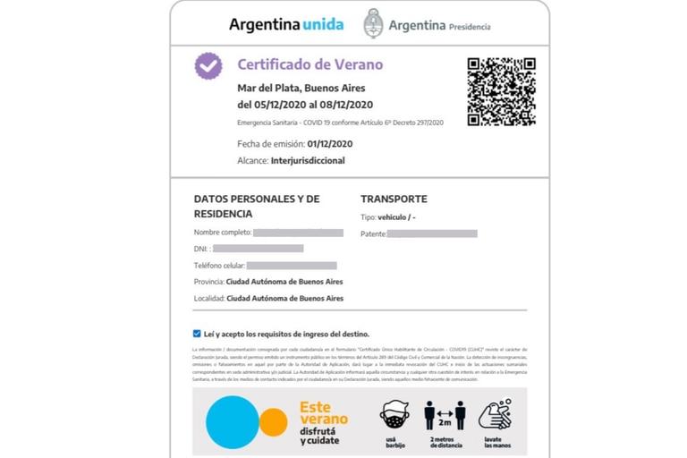 El Certificado Verano se puede descargar para llevar en el teléfono celular y exhibir ante las autoridades de las localidades de veraneo