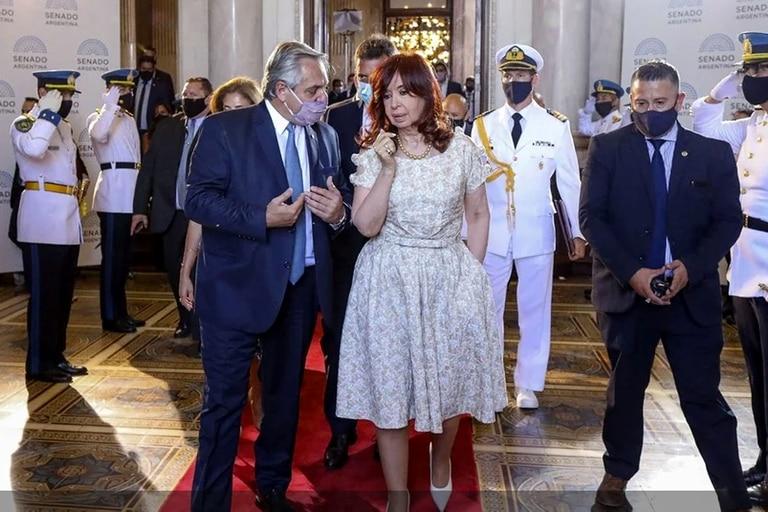 Alberto Fernández y Cristina Kirchner en la apertura de las sesiones ordinarias
