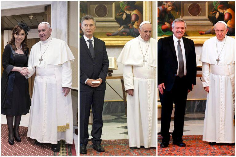 Sonrisas o frialdad, las distintas expresiones del Papa en sus encuentros con los presidentes argentinos