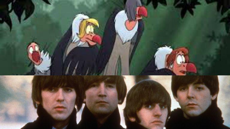 En los buitres de El libro de la selva, hay un pequeño homenaje a los Beatles