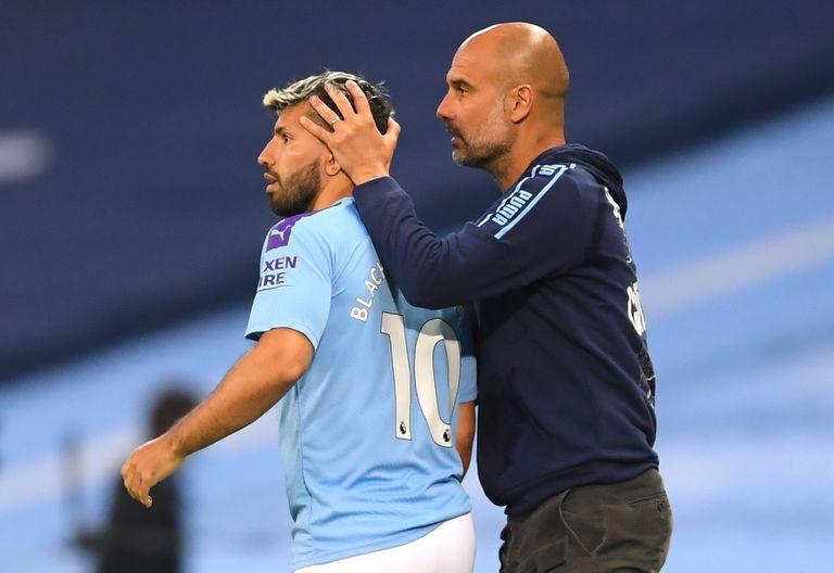 El Kun Agüero, con Pep Guardiola, en uno de los últimos partidos de Manchester City