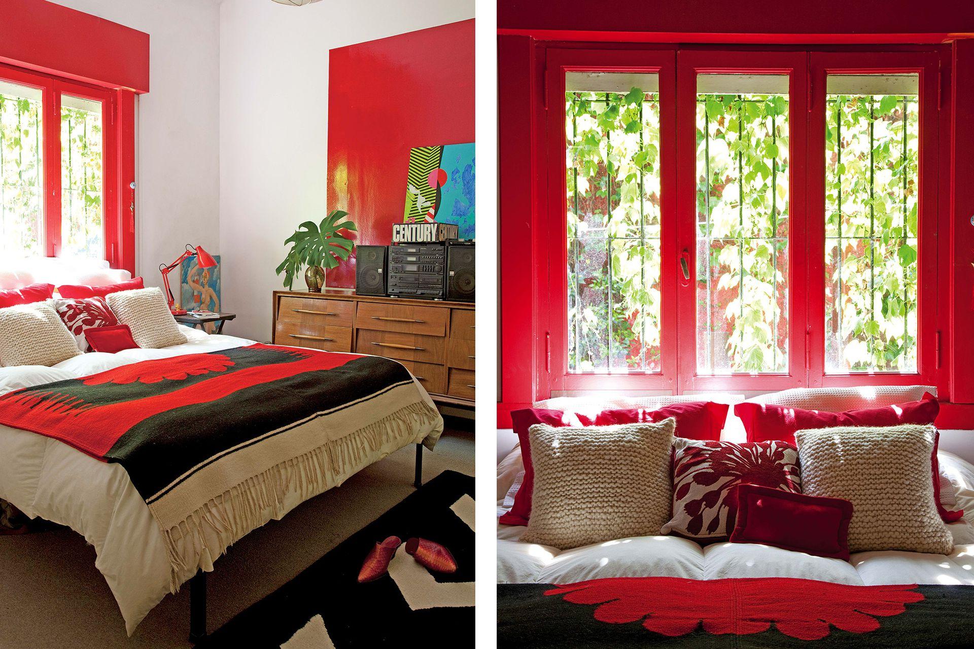 En su cuarto, Laura pintó un gran cuadrado rojo, igual que la ventana y el taparrollo. Almohadones tejidos a mano y alfombra con diseño geométrico (todo de Elementos Argentinos).