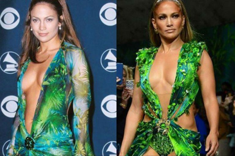 Jennifer Lopez recreó su look de los Grammy 2000 en un desfile de Versace