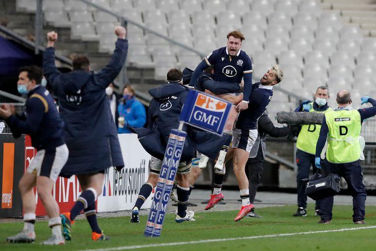 El festejo de Escocia tras ganarle a Francia a París en la última jugada: ¡Gales campeón por 28a vez!