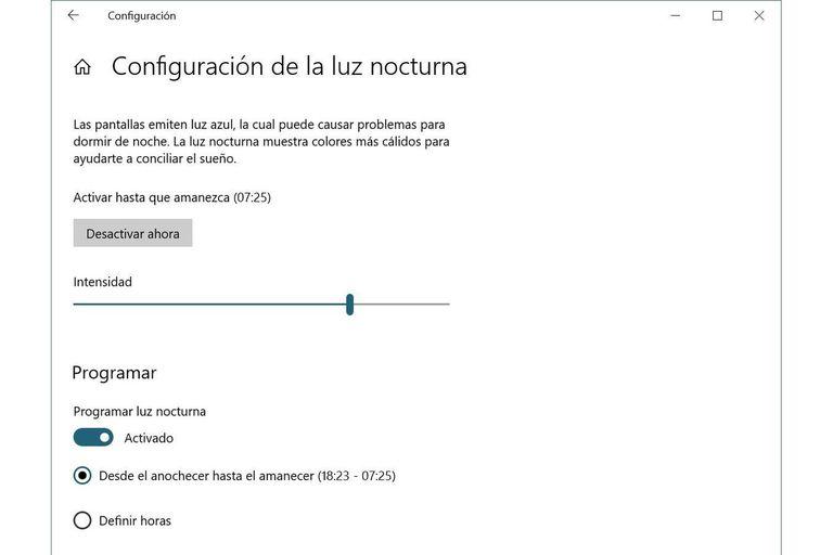 Configuración de Luz Nocturna en Windows 10