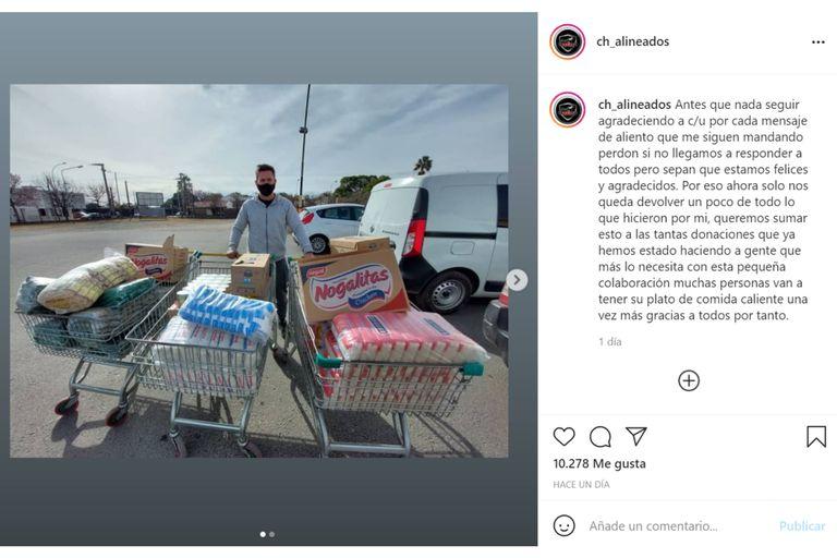 El mecánico cordobés al que le desvalijaron su taller recibió más dinero del que había perdido y decidió donar alimentos a varios comedores comunitarios