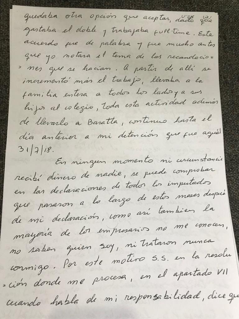 Página cinco del escrito que Centeno entregó a Bonadio
