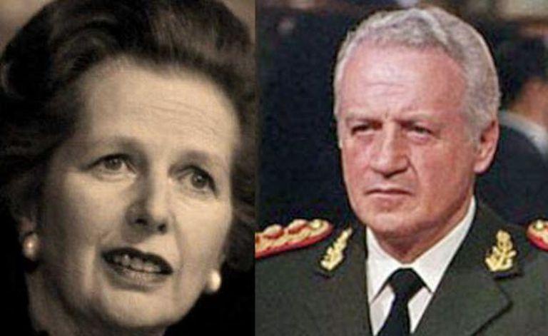 Margaret Thatcher y Leopoldo Galtieri. Fuente: Plumas Hispanoamericana.