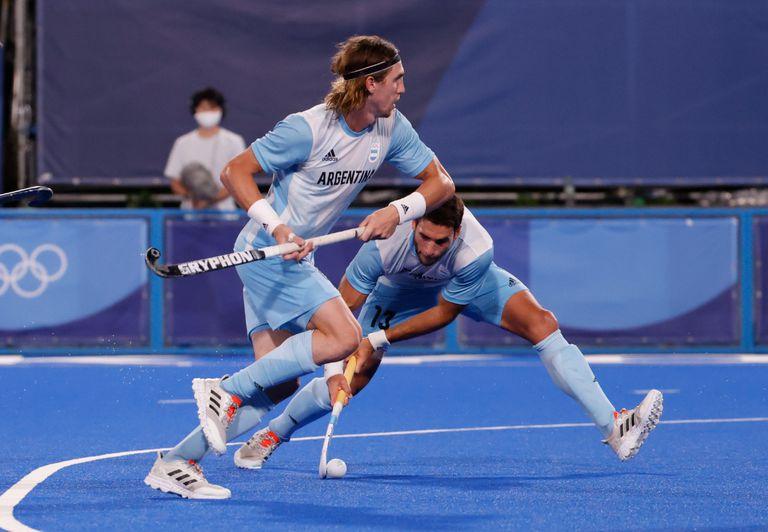 El equipo argentino marca su tercer gol ante Nueva Zelanda, tras un córner corto de Tolini.
