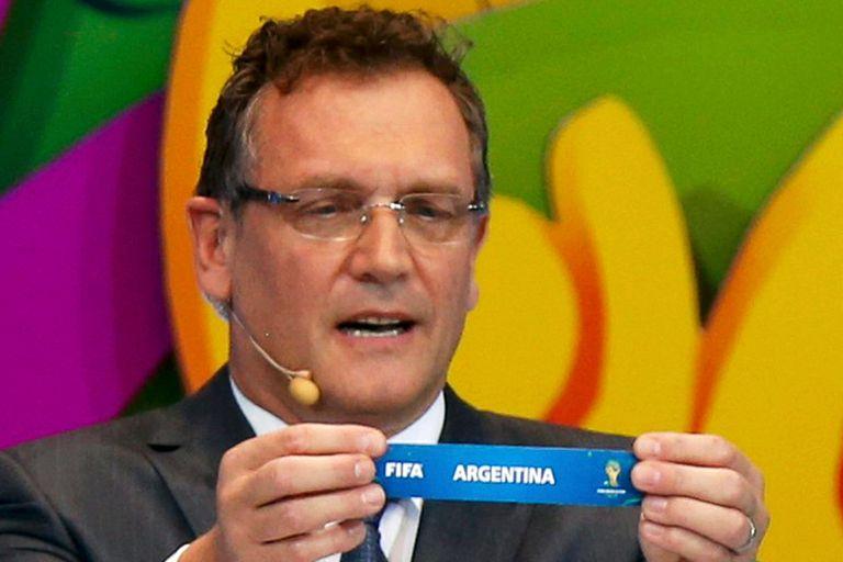 El secretario general de la FIFA, Jerome Valcke, cuando la Argentina sale en el Grupo F