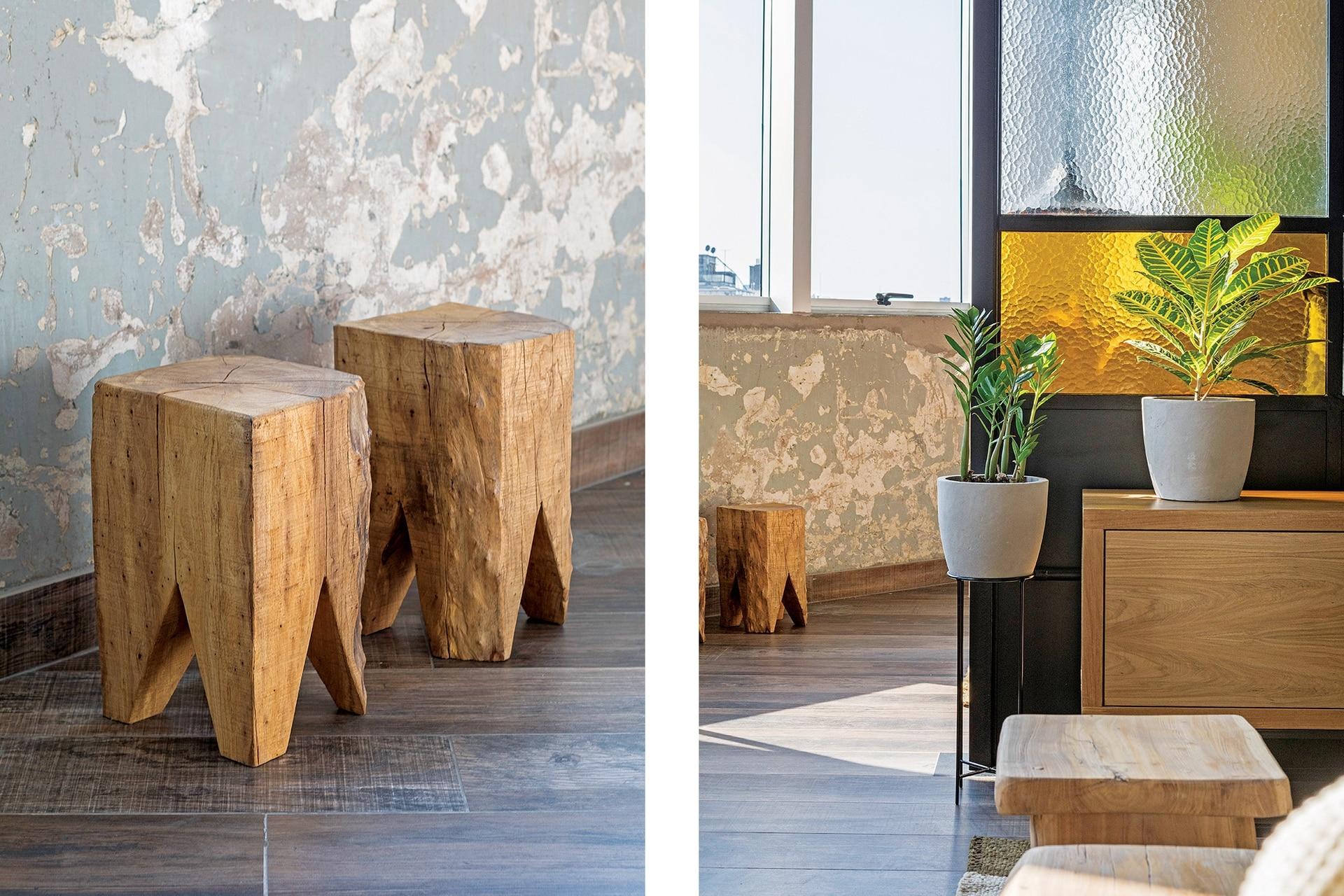 La madera es una constante a lo largo del loft.