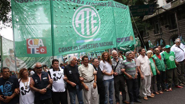 La cúpula de ATE, con Hugo Godoy a la cabeza, en una movilización antes de la pandemia