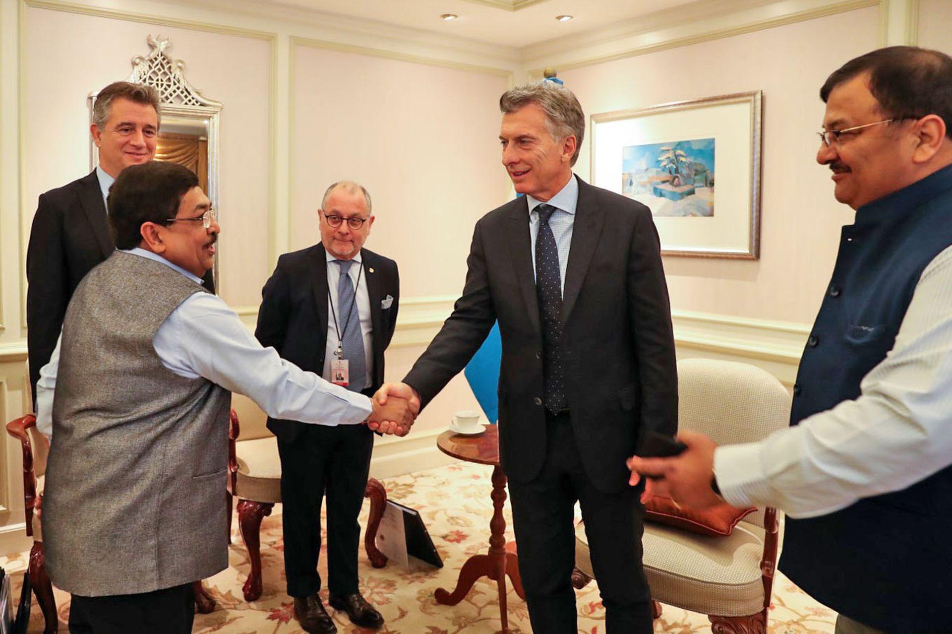 El presidente Mauricio Macri mantuvo esta mañana una audiencia con las máximas autoridades de la Cámara de Aceiteros de la India, en el hotel Taj Mahal Palace de la ciudad de Mumbai