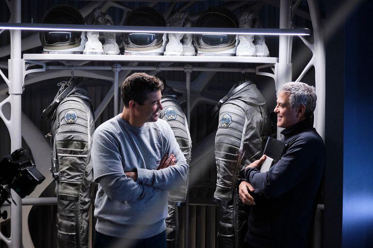 Kyle Chandler y George Clooney en el rodaje de la película