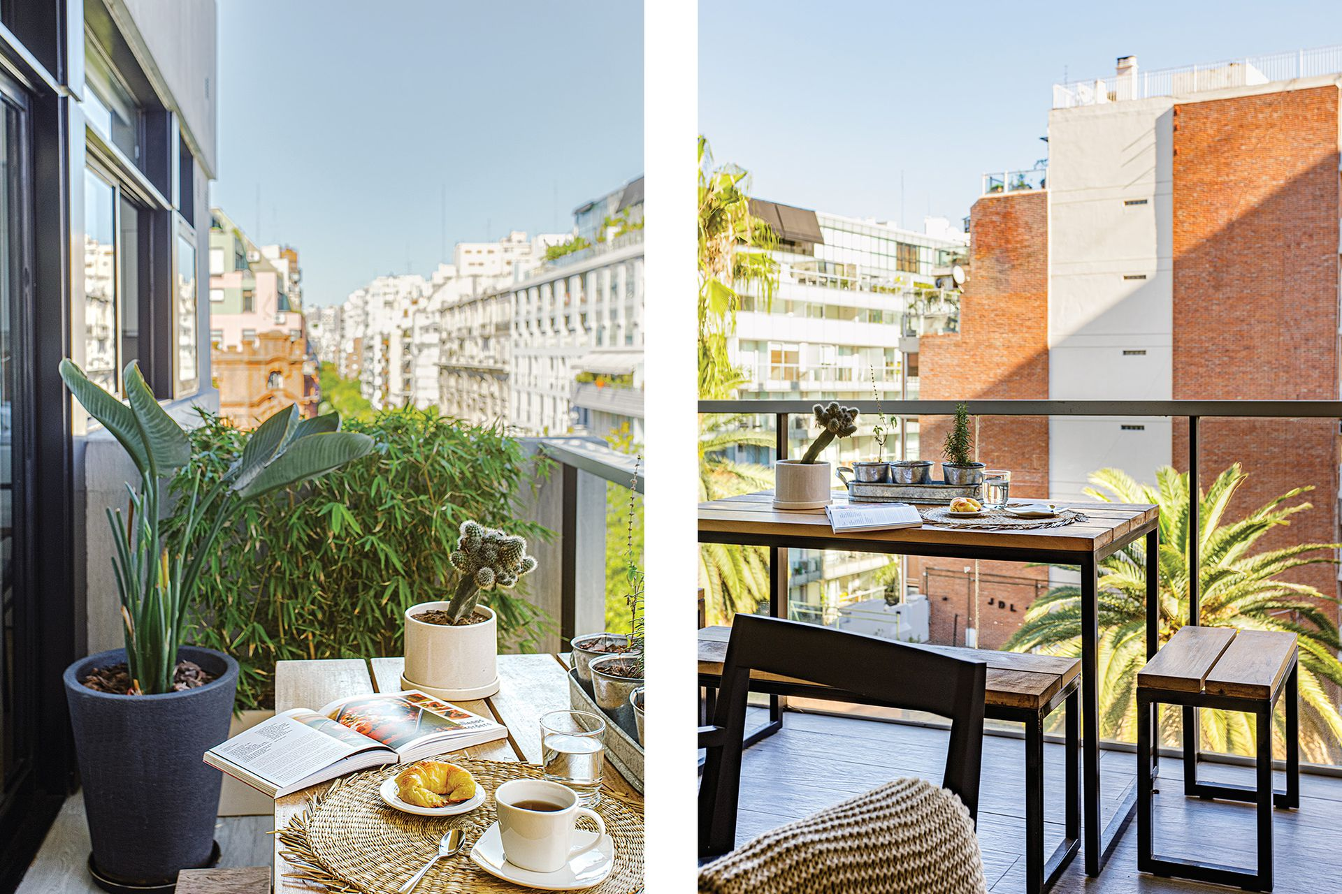 En el balcón, mesa y banquetas de hierro y madera diseñadas por Pipkin y hechas por Bacano. Piso 'Giardino' (SBG), selección de plantas y macetas a cargo del equipo de arquitectas.