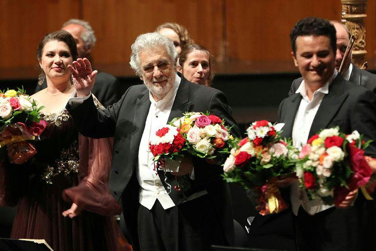 Plácido Domingo en la ópera Luisa Miller en el Festival de Salzburgo, en Austria. Fue su primera presentación luego de ser acusado de abuso sexual