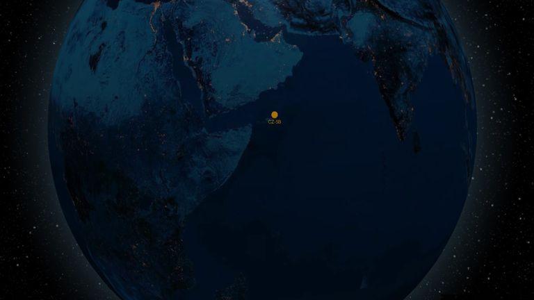 La posición del cohete chino, según Orbit.ing Now