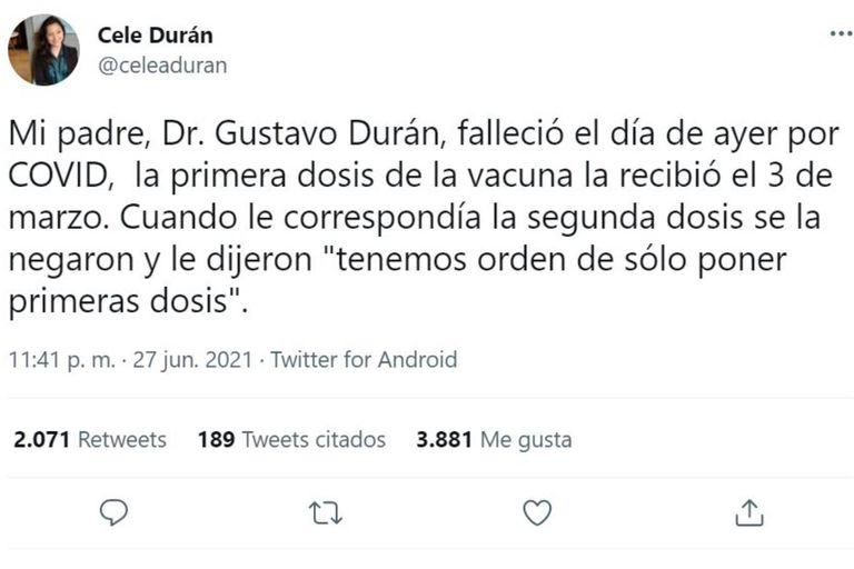 El tuit de Celeste Durán que habla sobre la situación de su papá Gustavo