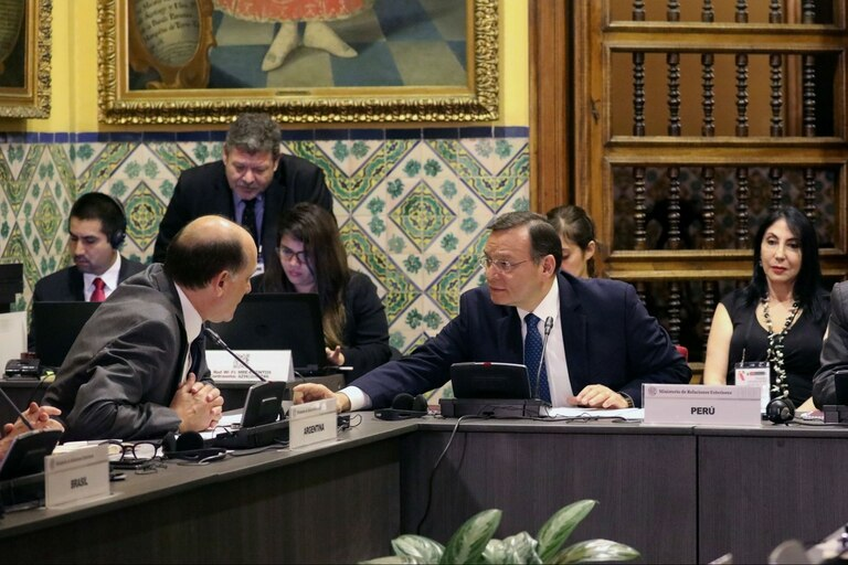 El secretario argentino de Relaciones Internacionales, Daniel Raimondi (izquierda), dialoga con el canciller peruano