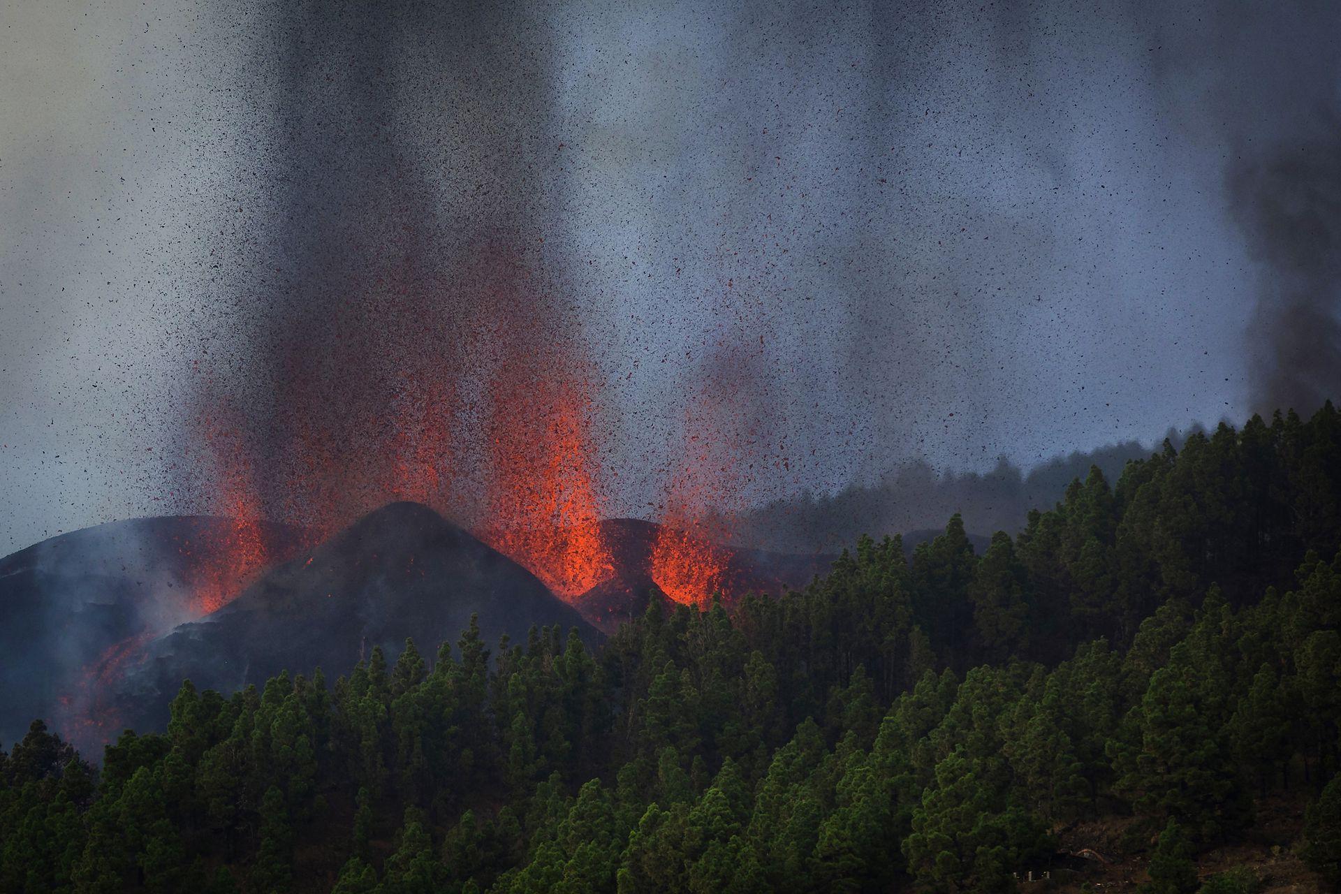 El Instituto Geográfico Nacional (IGN) ha informado que la lava está saliendo en estos momentos por cinco fisuras a unos 400 metros de altitud