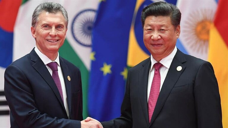 El presidente de Macri junto al presidente de China Xi Jinping