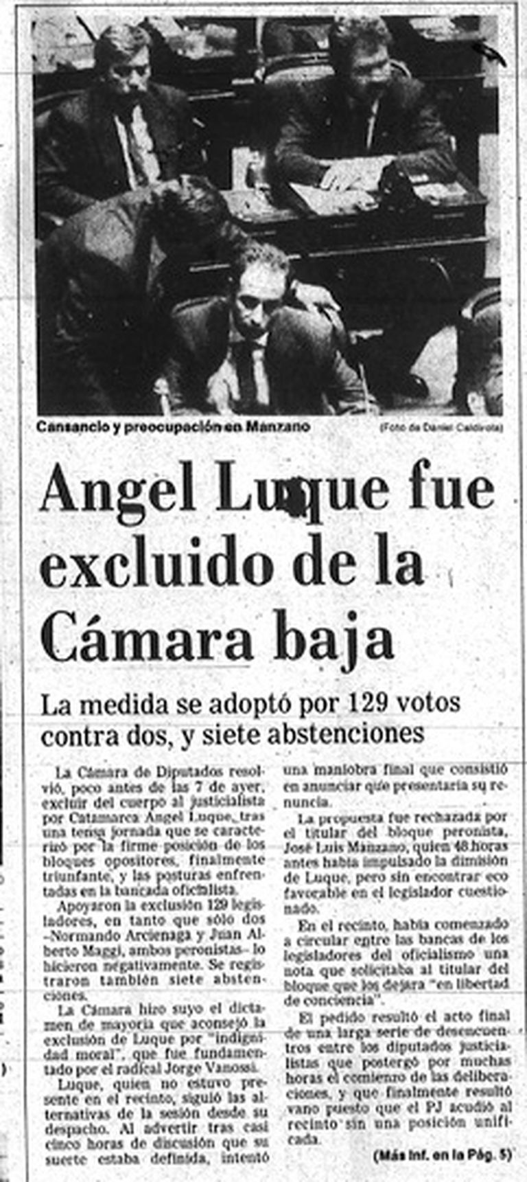 Luque excluido del Congreso, en la tapa de La Nacion el 20 de abril de 1991