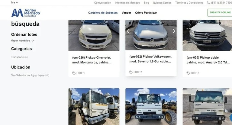 Adrián Mercado, another famous online auction platform, will correspond to more than 20 truck auctions on April 9 with the fleet of the Jujuy highway company Jumi SRL