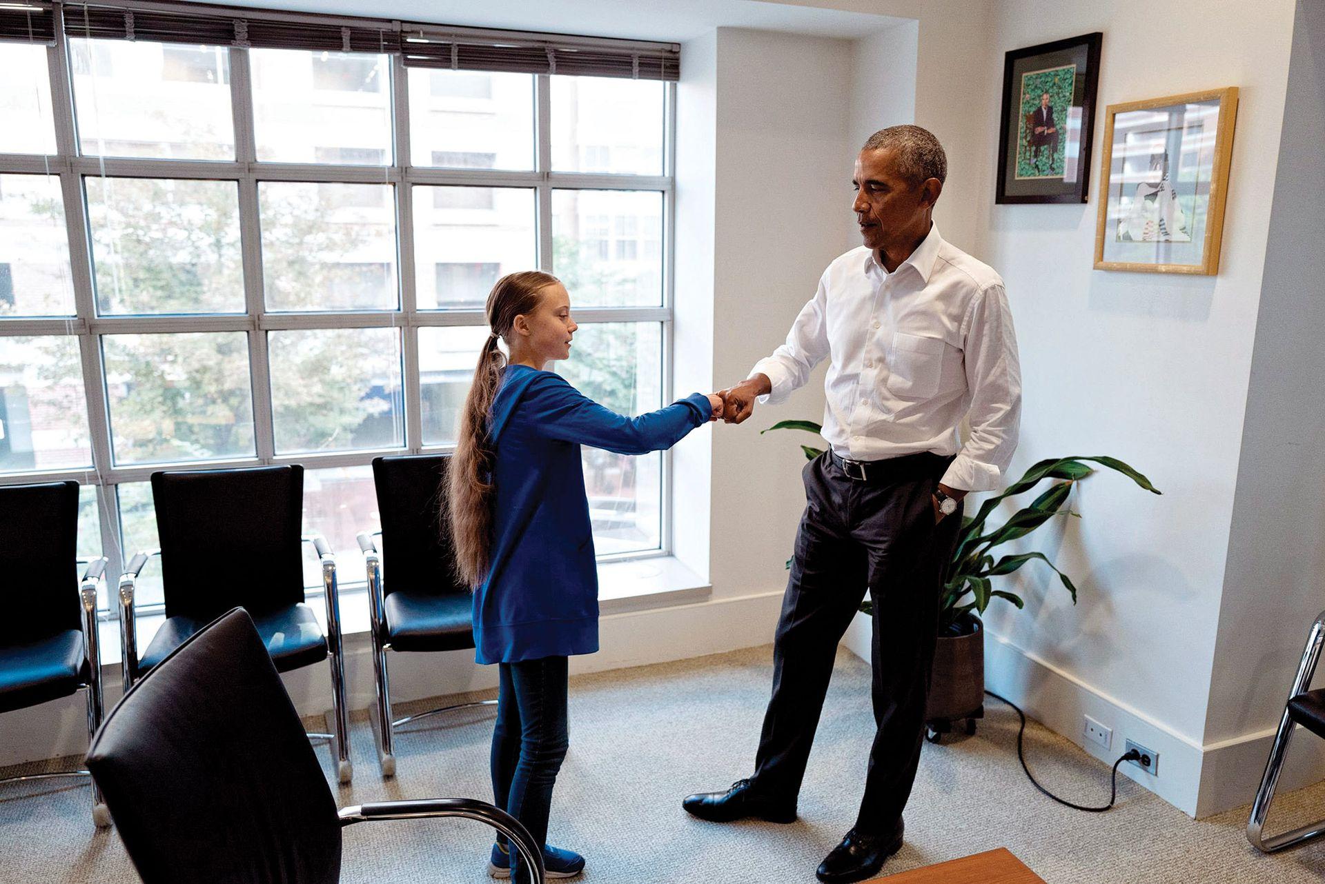 Barack Obama la recibió en su fundación antes de la Cumbre de Acción Climática de la ONU, en septiembre último