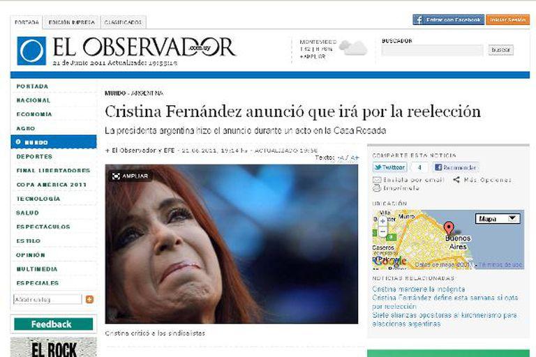 El Observador de Uruguay fue uno de los primeros medios internacionales en anunciar la candidatura de Cristina