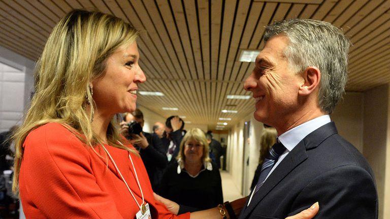 Máxima y Macri en Davos en enero pasado