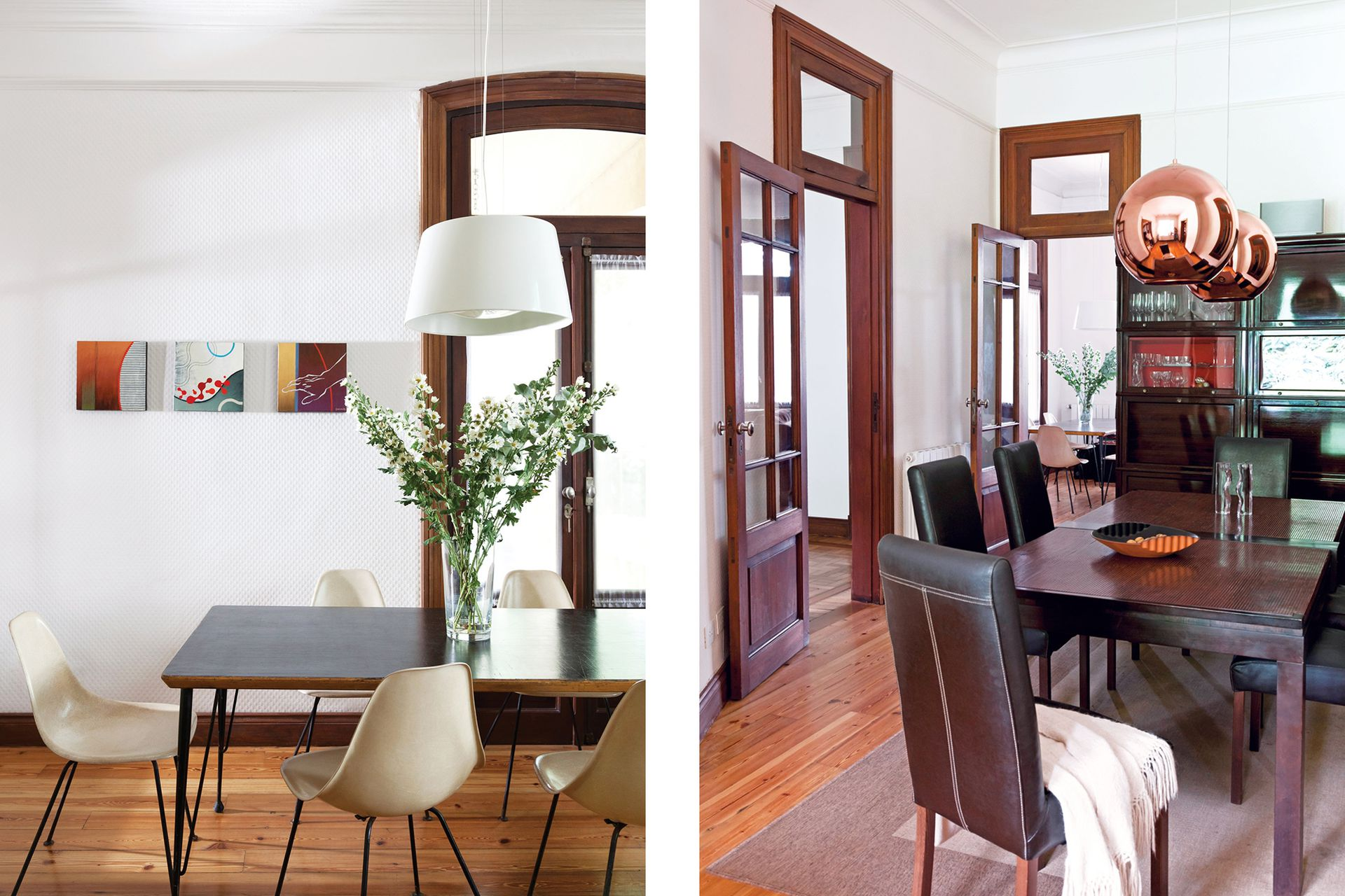 El extremo del playroom tiene una mesa rodeada de sillas Eames vintage compradas en Andersonville, el barrio de Chicago donde estuvieron instalados durante varios años. Los cuadros de John Garrison tienen la misma procedencia.