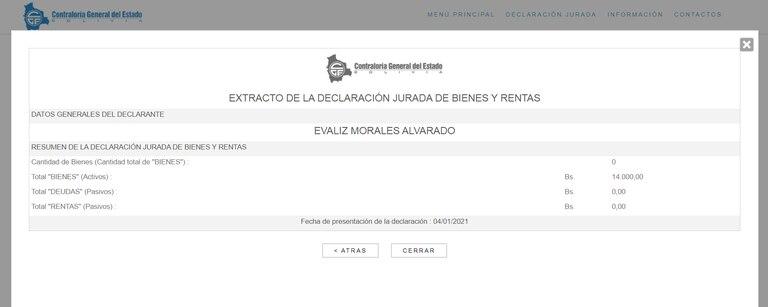 Extracto de la declaración jurada de bienes y rentas de Evaliz Morales Alvarado.