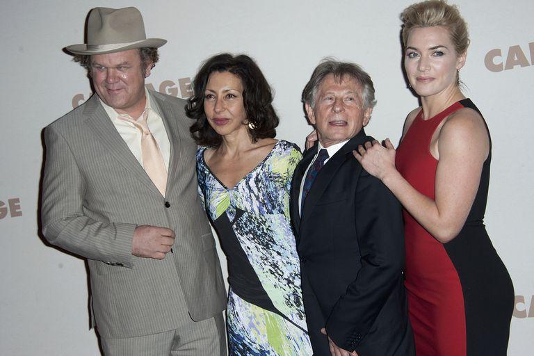 Con John C. Reilly, Roman Polanski y Kate Winslet, a propósito del film basado en su obra Un dios salvaje