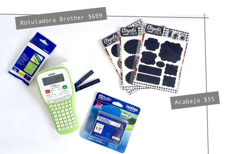 Rotuladora de Bother identificación $699 / Cintas de Brother identificación entre $299 y $399 / Etiquetas pizarron de Acabajo $55